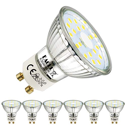 EACLL GU10 LED 5W 6000K Kaltweiss Leuchtmittel 495 Lumen Birnen kann Ersetzen 50W Halogen. AC 230V Kein Strobe Strahler, Abstrahlwinkel 120 ° Reflektor Lampen, Kaltweiß Licht Spotleuchten, 6 Pack