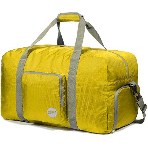 Faltbare Reisetasche 60-100L Superleichte Reisetasche für Gepäck Sport Fitness Wasserdichtes Nylon von WANDF (Gelb, 60L)