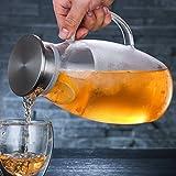 iBaste Teekanne Glas Teebereiter 1800 ML mit Abnehmbare Edelstahl Abdeckung Explosionsgeschützt und...