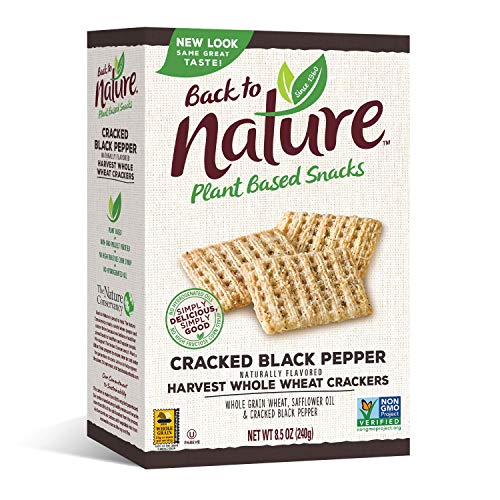 Back to Nature Crackers, Non-GMO Cracked Black Pepper Harvest Whole Wheat, 8.5 Ounce