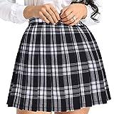 IEFIEL Falda Plisada Basica Mujer Mini Falda Vuelo Escolar Falda Casual Corta Colegiala Japonesa Falda Escocesa Cintura Alta Elástica para Chicas Disfraz Animadora Negro Cuadros A S
