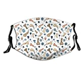 Face Mask Men Cotton| Penis Flower Printed With 2 Filters Personalized Printed Gifts Washable Bandana Mask Scarf