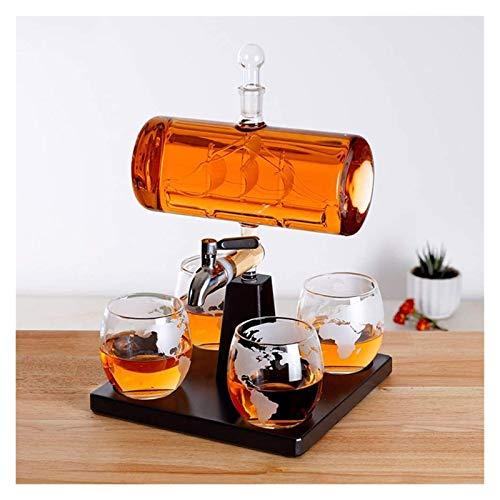 AMDHZ Dispensador de Whisky Conjunto Marco de Madera Que Pesa la Forma de Vela con 4 Gafas de Taza y Madera de Roble para escocés, Ron y Alcohol Decantador de Whisky