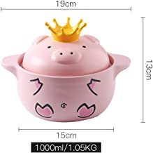 Pig pig pot crown ceramic casserole cute baby food pot household gas cooker soup pot stew pot-1L clay pot