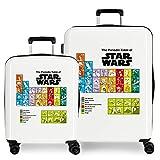 Star Wars Badges Juego de Maletas Blanco 55/70 cms Rígida ABS Cierre TSA Integrado 119,4 6 kgs 4 Ruedas Dobles Equipaje...