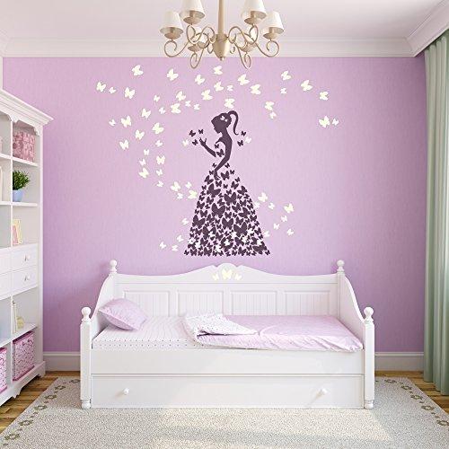 malango® Wandtattoo Schmetterling Mädchen Märchenland Mädchenwelt Kinderzimmer Wanddekoration Design ca. 59 x 100 cm violett