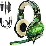ShinePick Cascos PS4 Camuflaje, Auriculares Gaming con Microfono Diadema Ajustable, Bass OverEar 3,5...