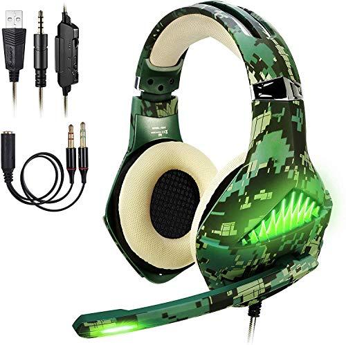 ShinePick Cascos PS4 Camuflaje, Auriculares Gaming con Microfono Diadema Ajustable, Bass OverEar 3,5mm Jack, Luz LED, Control de Volumen, Bajo Ruido para PS4/Xbox One/PC/Móvil (Camuflaje)