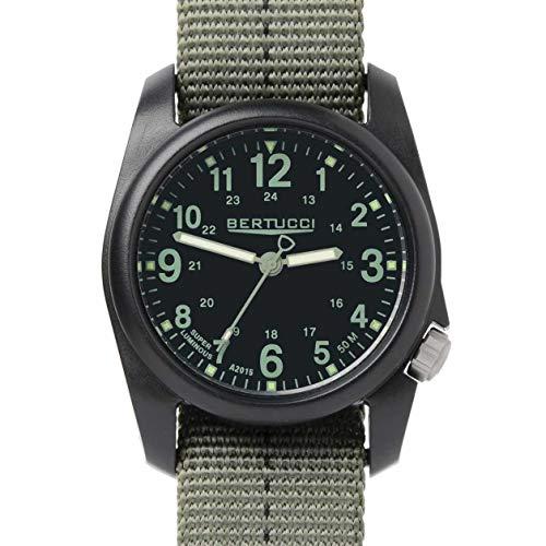 Bertucci DX3 Reloj de campo, carcasa de resina, correa con diseño a rayas, de nailon, esfera negra - 11040