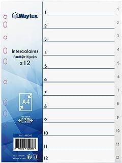 WAYTEX 931345 Intercalaires Numériques A4 12 Touches avec Numéros Imprimés de 1 à 12 en Polypropylène Blanc avec Index