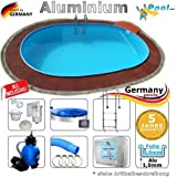 Aluminiumpool Ovalpool 7,40 x 3,50 x 1,50 Set Schwimmbecken Alu Swimmingpool 7,4 x 3,5 x 1,5 m Ovalbecken Alupool Fertigpool oval Pool Aluminium Pools Einbaupool Gartenpool Sets Aussenpool Komplettset