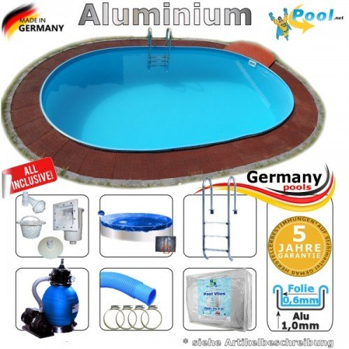 Aluminiumpool Ovalpool 5,50 x 3,60 x 1,50 Set Schwimmbecken Alu Swimmingpool 5,5 x 3,6 x 1,5 m Ovalbecken Alupool Fertigpool oval Pool Aluminium Pools Einbaupool Gartenpool Sets Aussenpool Komplettset