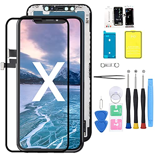 for iPhone X Screen Replacement Compatible with 5.8 inch LCD 3D Screen Touch Display Digitizer Frame Assembly +Screen Protector+Waterproof Glue with Complete Repair Tools (Model A1865 A1901 A1902)