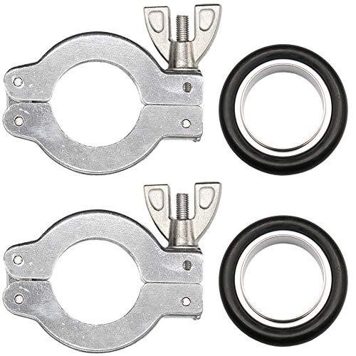 2 Sets KF-16 Aluminum Clamp Ring + KF16 Aluminum & FKM Centering Ring Vacuum Fitting