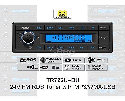VDO 24 Volt LKW Radio, RDS-Tuner, MP3, WMA, USB, Truck & Bus, 24V TR722U-BU