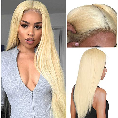 Pre Plucked Hair Line 13X4 Lace Front Wigs Glueless 180% Density 613 Bleached Blonde Remy Straight Brazilian Virgin Human Hair With Baby Hair For Black Women (16 inches)