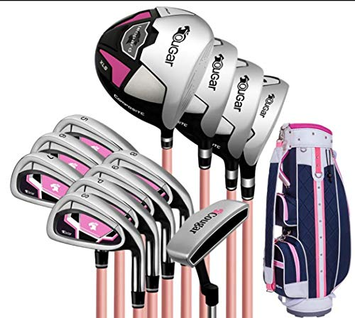 FORIDE Damen-Golfschläger-Set für Rechtshänder, mit Golfschlägern und Standtasche, für Damen und Anfänger (12 Carbon-Schäfte Standardtasche)