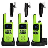 Retevis RA19 Bluetooth 2 Way Radio,Long Range Walkie Talkie for Adults with Wireless Earpiece,NOAA VOX 1400mAh Rechargeable Two Way Radio for Camping Hunting Hiking Biking(Green,3 Pack)