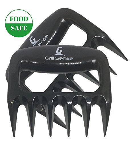 Grill Sense Food Safe Full Size Barbecue Claws | Bear claws | Meat Claws | Pork Claws | Shredder claws - Heat Resistant, Extra Strong, Dishwasher Safe (Black)- 1 Pair