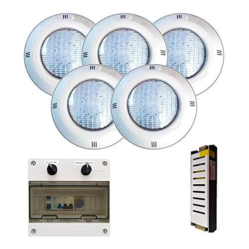 Warmpool Pack Proyectores LED Luz Blanco Cálido 35W de Superficie para Piscina...