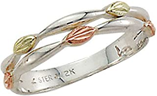 Landstroms Black Hills Silver Ladies Ring with Bands of 12k Gold Leaves - MRLLR3059