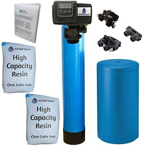 Fleck, Blue High Capacity Resin Whole House Water Softener System 5600sxt Digital Meter Grain-includes valve & brine tank with safety float (64k 1 Inch Bypass