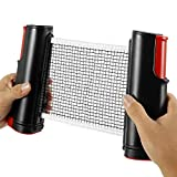 Table Tennis Net Rack Retractable Ping Pong Net Portable for Dining Table,Office Desk, Home Kitchen (Black red)