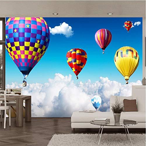 Makeyong 3D muurschildering luchtballon op de wolken fotobehang voor kinderen kinderkamer behang wooncultuur 3D ruimte landschap 400 x 280 cm.