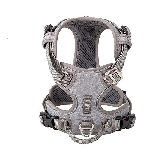 Arnés para perros Pet Reflective Nylon Dog Harness No Pull Adjustable Medium Large Naughty Dog Vest Safety Vehicular Lead Walking Runn Arnés para gatos (Color : Grey, Size : X-large)