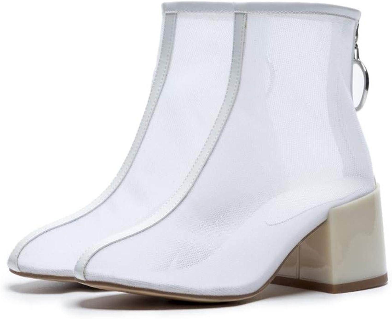CCBubble Block Heels Transparent Women shoes 2018 Clear Ankle Boots Sandals Women