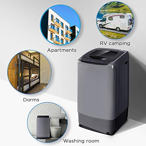 Space Saving Full-Automatic Washer Dorm 0.9 cu.ft Compact Washer With LED Display Magnetic Gray Apartment 5 Wash Cycles Ideal Laundry for RV 2 Built-in Rollers COMFEE Portable Washing Machine