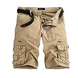 ITISME Cargo Shorts Hommes Ete Outdoor Multipoches Bermudas Shorts De Plage Vintage Casual Couleur Unie/Camo Pantalon