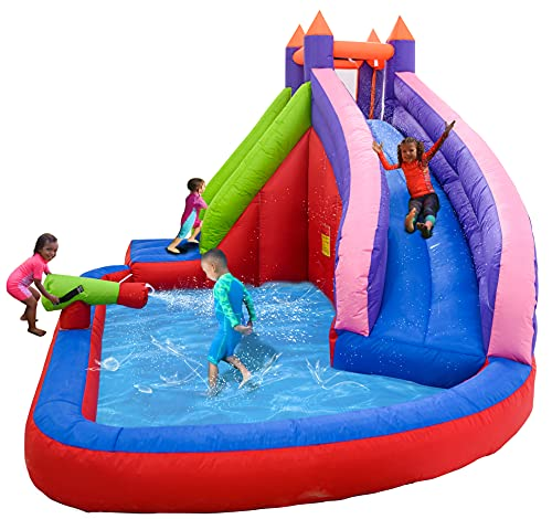 EDOSTORY Inflatable Slide Bouncer - Inflatable Bounce House for Kids 158''L x 118''W x 93.5''L Waterpark Water Gun Wet and Dry Playground Sets with 550W Air Blower Purple