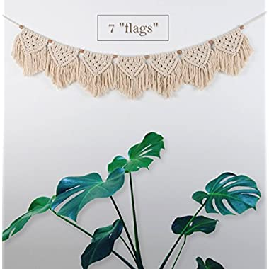 TIMEYARD Macrame Woven Wall Hanging Fringe Garland Banner - BOHO Chic Bohemian Wall Decor - Apartment Dorm Living Room Bedroom Decorative Wall Art, 9  W x45 L, 7  flags
