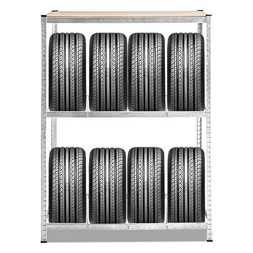 Hengda Reifenregal verzinkt Lagerregal 3 Ebenen Reifenständer, 120 x 40 x 180 cm, Traglast 265kg, für bis zu 8 Reifen, für Garage, Lagerraum, Keller