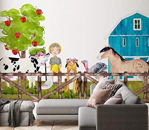 Muurbehang voor woonkamer, slaapkamer, muurschildering, muurschildering, voor kinderkamer, paradies, dieren, wekker, 3D-wand, 300 x 210 cm