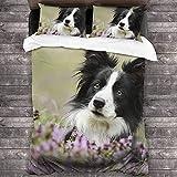 Imodest Bettbezug Cute Dog Border Collie Eyes Blumen 3-teiliges Bettwäscheset mit Reißverschluss + 2 Kissenbezüge für Schlafzimmer oder Gästezimmer