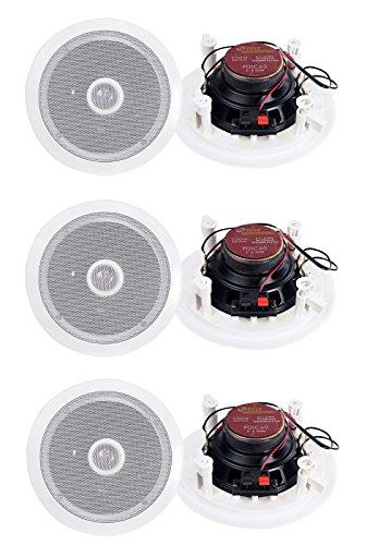 Pyle PDIC60 6.5 Inch 250 Watt 2 Way In Wall/Ceiling Home Speaker System (3 Pair)