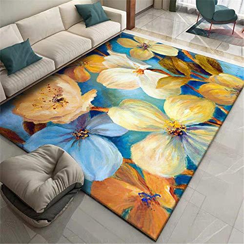 Teppiche Modernes Design Fühlt Sich weich an Teppich Blauer gelbbrauner Graffiti-Blumenmuster moderner dekorativer Teppich Hauptdekoration Esszimmer Teppiche