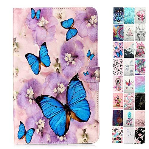 Coeyes Tablet-PC Hülle kompatibel für Universal 7 Zoll (6.5-7.5 Zoll) Muster Design Tasche Leder Flip Hülle Etui Schutzhülle Cover mit Kartenfach - Lila Schmetterling