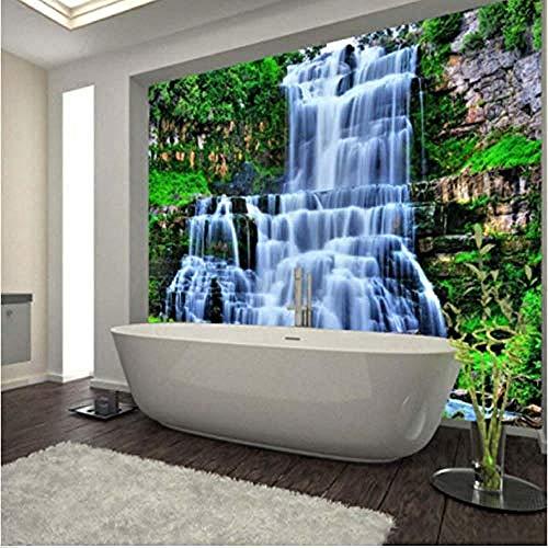 Große 3D-Klippe Wasserfälle Dusche Badewanne Kunst Wandbild Boden Aufkleber Design für Home Decor Wasserfall Tapete Wanddekoration fototapete 3d Tapete effekt Vlies wandbild Schlafzimmer-350cm×256cm