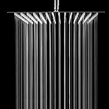 SARLAI Solid Square Ultra Thin 304 Stainless Steel Brushed Nickel 12 Inch Adjustable Rain Shower Head ,Waterfall Full Body Coverage with Silicone Nozzle