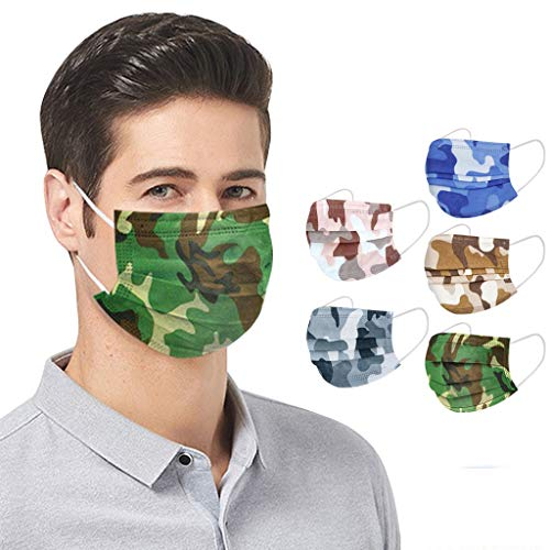 LiLiMeng 50 PCS Disposable Multicolor Mix Face_Macks, Unisex Adult Camouflage Print 3-Ply Breathable Fabric 𝙋𝙧𝙤𝙩𝙚𝙘𝙩𝙞𝙤𝙣 with Elastic Earloops (A)
