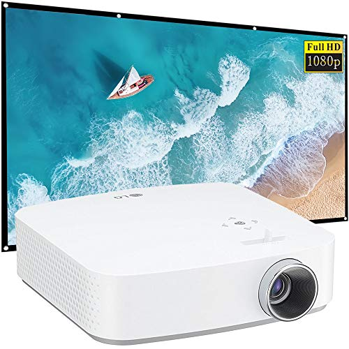"""LG PF50KA Full HD LED Smart Home Theater Projector with Built-in Battery Bundle with 120"""" Minolta 16:9 Indoor-Outdoor Screen"""