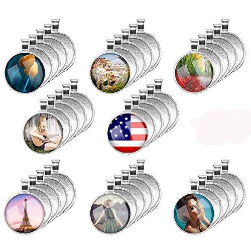 Accmor 40 Pcs Pendant Tray with 40 Pcs 25mm Glass Cabochons, Round Bezel Pendant Blanks Pendant Bases, 1 inch/25mm Jewelry Making Pendants for Photo Pendant Craft, Total 80 Pcs