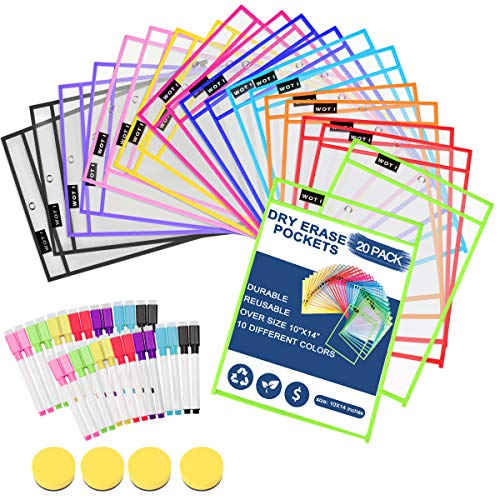 Dry Erase Pockets 20 Set Dry Erase Sleeves Oversized 10 x 14 Inches Teachers Students Supplies for Classroom Reusable Dry Erase Pockets Sleeves Assorted Colors