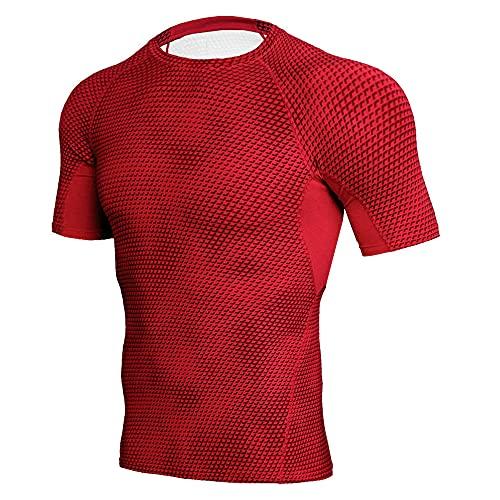 Músculos Shirt Hombre Moderno Sencillez Moda Color Sólido Empalme Hombre Manga Corta Set Verano Clásico Cuello Redondo Hombre Shirt Gym Absorbente Transpirable Compresión Shirt