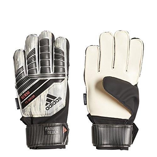 adidas Predator Junior Soccer Gloves,White/Silver Metal/Black/Solar Red,Size 4