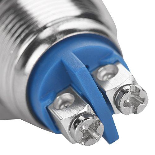 Interruptor de botón de metal de 2 clavijas Momentáneo de 16 mm Orificio de montaje Aplicaciones industriales para proyectos de electrónica de construcción(Tall head, black)