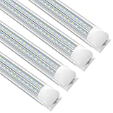 SHOPLED LED Shop Light Fixture 8ft, T8, 72W, 5000K, 9360LM Clear Cover, V Shape, Daylight White, Integrated Tube Light, High Output, Lights for Garage, Workshop, Warehouse 4 Pack